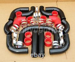 12pcs Aluminum Turbo Intercooler Black Piping Kit Bmw E30 E36 E39 E46 325i 330i