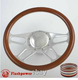 14'' Billet Steering Wheels Woodgrain Bronco F150 Mercury Capri Lincoln
