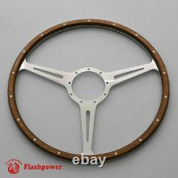 14 Classic Riveted Wood Grain Steering Wheel Restoration MGB Midget WithHorn