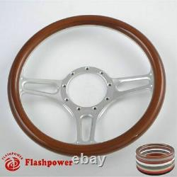 14 UNIVERSAL BILLET ALUMINUM 9 HOLE STEERING WHEEL With WHITE LEATHER WRAP