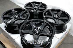 17 5x100 5x114.3 Black Wheels Fits Subaru Legacy Wrx Impreza Accord 5 Lug Rims