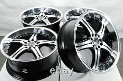 18 5x100 5x114.3 Black Wheels Fits Subaru Legacy Wrx Impreza Accord 5 Lug Rims