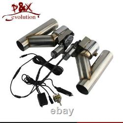 2.5 63mm Dual Electric Exhaust Cutout Dump Bypass Valve with Switch Control Kit
