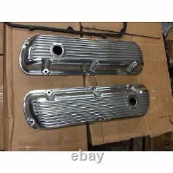 62-85 SBF Ford 302 Retro Finned Polished Aluminum Valve Covers 289 351W 5.0 SB