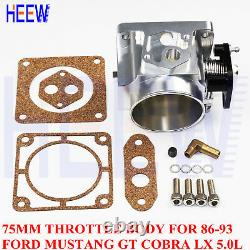 75mm Throttle Body For 86-93 Ford Mustang GT Cobra LX 5.0L Performance MK SILVER