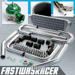 BK 2.5'' Aluminum FMIC Intercooler Piping Kit + Green Type RS Turbo Blow Off Bov