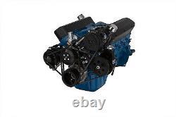Black Small Block Ford 351W V-Belt Conversion Kit A/C Power Steering Saginaw SBF
