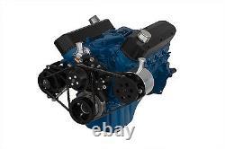 Black Small Block Ford 351W V-Belt Kit SBF Windsor 4 Bolt Alternator PS