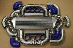 Blue Fimc Intercooler+turbo Piping Kit Coupler Clamps CIVIC Crx Del Sol D15 D16