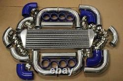 Blue Fimc Intercooler+turbo Piping Kit Coupler Clamps Rsx Tsx Cr-v B20 K20 K24