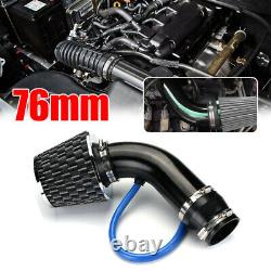 Car Carbon Fibre 3 Cold Air Intake Filter Induction Pipe Power Flow Hose System