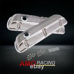 Finned Aluminum Polished Short Valve Cover Fit Small Block Ford SBF 289 302 351W