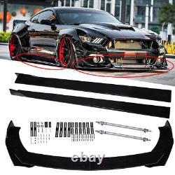 Front Lip Bumper Splitter + 78.7 Side Skirts + Strut Rods for Ford Mustang GT