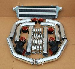 Turbocharger Turbo 8 Pcs Chrome Aluminum Piping Kit/ Black Coupler+ Intercooler