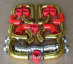 Universal 2.5 12pc 24-K Gold Front Mount Intercooler Piping Kit + Red Couplers