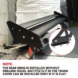 Universal Megan Racing Aluminum GT Trunk Spoiler Wing Black Plate Adjustable 53
