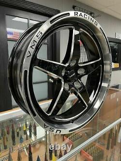 VMS Black Polished Lip 18x5 5x114.3 Drag Racing Wheel For Ford 05 19 Mustang