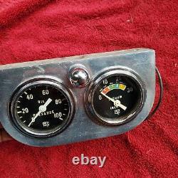 Vintage Stewart Warner Two Gauge Aluminum Offenhauser Panel Oil Pressure Vacuum