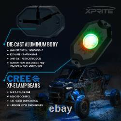 Xprite 8pc Aurora RGB LED Underbody Rock Light + Remote Control for Jeep ATV UTV