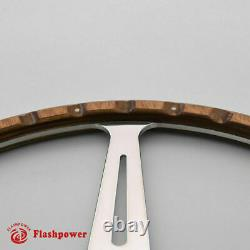 14 Classic Riveted Wood Grain Steer Wheel Restoration Mgb Midget Withhorn