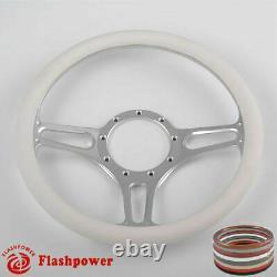 14 Volant Universal Billet Aluminium 9 Trous Avec Enveloppement En Cuir Blanc