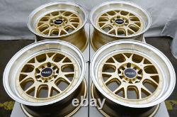 15x8 Gold Wheels Rims Honda CIVIC Accord Corolla Mazda3 Eclipse Impreza 5 Lugs