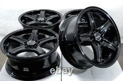 17 5x100 5x114.3 Black Wheels S'adapte Subaru Legacy Wrx Impreza Accord 5 Lug Rims