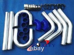 3 Inch 76mm Intercooler Universel Intercooler Turbo Pipe Piping Kit Blue Hose