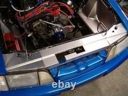87-93 Ford Mustang Radiator Bumper Filler Cover Aluminium Poudre Enduit D'argent