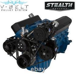 Black Ford 289 302 V-belt Conversion Kit Aluminium A/c Climatisation Vintage