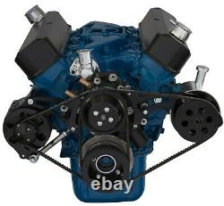 Black Ford 289 302 V-belt Kit Billet Aluminium Power Steering Pulley Sbf