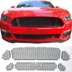 Black Grill Mesh Set For Badgeless 2015-17 Ford Mustang Gt Frame Non Inclus