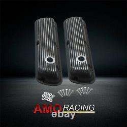 Black Retro Finned Powder Coated Aluminium Court Valve Covers Fit Sbf 302 351w