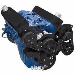 Black Small Block Ford 289 302 351w Serpentine Poulie Système Sbf Ac A/c Kit