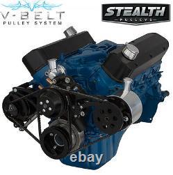 Black Small Block Ford 351w V-belt Kit Sbf Windsor 4 Bolt Alternateur Ps