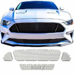 Ccg Top & Lower Black Grill Grille Mesh For Badgeless 2018-21 Ford Mustang Gt