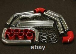 Chrome 3 Diy Turbo Intercooler Piping Kit + Coupleurs De Silicone Rouge 8pc + Pinces