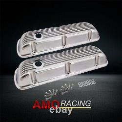 Finned Aluminium Poli Court Valve Cover Fit Small Block Ford Sbf 289 302 351w