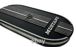Nouveau! Nettoyeur D'air En Aluminium Ovale Avec Mustang Script 289 302 2v 4v