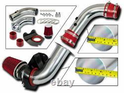 Prise D'air D'induction Froide Rouge + Filtre Sec Pour Ford 94-98 Mustang Base 3.8l V6