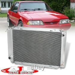 Radiateur De Course En Aluminium Complet Dual-core/row Pour La Ford Mustang V8/v6 M/t 1979-1993