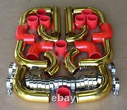 Universal 2.5 Kit De Tuyauterie Intercalaire De Montage Avant En Or 24-k De 12pc + Coupleurs Rouges