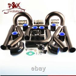 Universal Diy Intercooler + 2,5 63mm Aluminium Piping + Bov Black Hose Kit