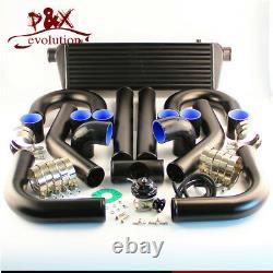Universal Diy Intercooler + 2.5 63mm Tuyauterie En Aluminium + Kit Bov Black Hoses