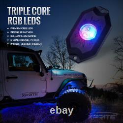 Xprite 8pc Aurora Rgb Led Underbody Rock Light + Télécommande Pour Jeep Atv Utv